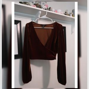 Brown Velvet long sleeve low V crop top!